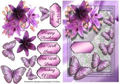 - butterfly wishes decoupage card front is a great card for many reasons. It has 6 labels , a blank for your own words the. Very Happy Birthday, Get Well Soon, Card Sizes, Your Cards, Embellishments, Wish, Decoupage, Card Making, Greeting Cards