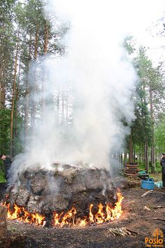 Charcoal pit on fire at Sirniö Blacksmith Event by Sanna Mustonen The Other Side, Blacksmithing, Finland, Charcoal, Fire, Photography, Outdoor, Country, Blacksmith Shop
