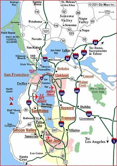 Road map of San Francisco Bay Area handy