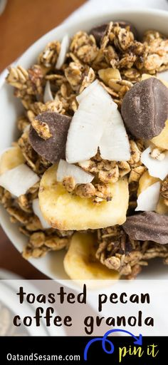 Chunks of semi-sweet chocolate, coconut and banana chips mixed into a toasted Georgia Pecan Coffee Granola for a scrumptious breakfast or snack! Brunch Recipes, Breakfast Recipes, Snack Recipes, Coffee Recipes, Best Breakfast, Breakfast Bites, Second Breakfast, Breakfast Club, Georgia Pecans