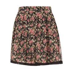 Petite Black Floral Print Lace Trim Skater Skirt