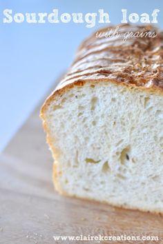 Multigrain sourdough loaf via www.clairekcreations.com