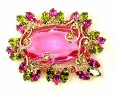 Pink Schreiner Brooch with Green Glass Crystal Rhinestone Accents and Gold Tone Swirls Unsigned Vintage (285.00 USD) by imagiLena
