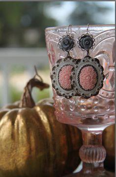 Shabby Chic Grey and Pink Dangle earrings by KeshetLavouxJewelry, $26.00
