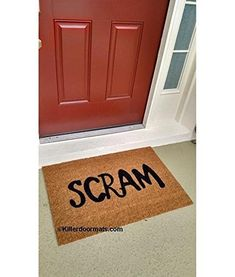 Scram Funny Doormat, Size Small - Welcome Mat - Doormat - Custom Hand Painted Doormat by Killer Doormats. What better way to say go away than with our Scram Custom Doormat. This simple word has been utilized by so many people and many even some of your favorite cartoon characters, so it sounds like a pretty perfect way to tell unwanted arrivals to just get long and leave you alone. Care: Easy to keep clean, just vacuum or shake your rug out. The rubber backing will keep the doormat in…
