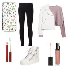 """Movie night"" by queenbeaarionna on Polyvore featuring Chicnova Fashion, MANGO, rag & bone/JEAN, Giuseppe Zanotti and Kevyn Aucoin"