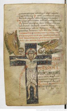 Sacramentaire de Gellone Christ en croix entre deux anges Diocèse de Meaux ou Cambrai (?), fin du VIIIe siècle. (vers 790) BnF, Manuscrits, Latin 12048 fol. 143v ©Bibliothèque nationale de France