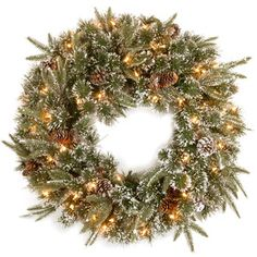 Pre-Lit Indoor/Outdoor Faux Pine Wreath