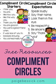 Compliment circles-creating a kind and respectful classroom. An easy activity that builds community and teaching students how to give and get compliments. Creative Teaching, Student Teaching, Teaching Resources, Teaching Ideas, Teaching Character, Character Education, Character Development, 2nd Grade Teacher, First Grade Classroom