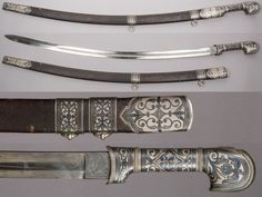 Caucasian shashka, ca. 1875 to 1900, steel, leather, silver, L. of blade 32 in. (81.3 cm), Bequest of George C. Stone, 1935, Met Museum.