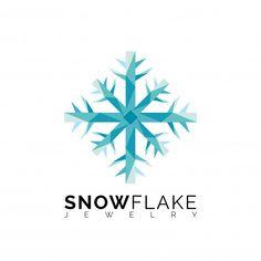 Blue Triangle Snowflake Logo Template