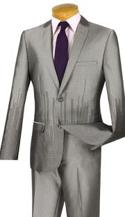 2pc Single Breasted, Two Buttons, Side Vents, Flat Front Pants, SharkSkin, Vinci Mens Suit