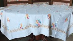 #Vintage Fifties colorfull Kitsh #antique #French linen tablecloth handmade embro,  View more on the LINK: 	http://www.zeppy.io/product/gb/3/233412012/