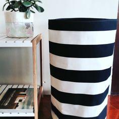 Black and white stripe fabric laundry hamper or toy basket, fabric basket, storage basket, storage b Fabric Storage Baskets, Toy Storage, Fabric Basket, Large Laundry Hamper, Toy Basket, Striped Canvas, Striped Fabrics, Canvas Fabric, Room Decor