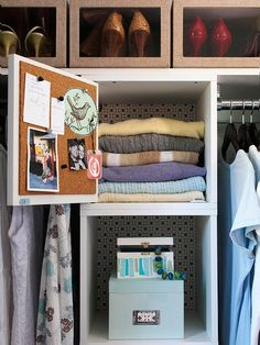 Crafty Cupboards  Precut cork squares affixed to a cupboard door with adhesive spray become a handy spot for clothing receipts or reminders. Shelf paper is easily adhered to modular pieces before installation.