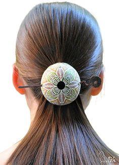 Polymer clay hair accessory by Winnie Poh.