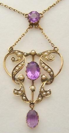 Edwardian amethyst and pearl lavalier pendant necklace. Via Diamonds in the Library.Via Diamonds in the Library.