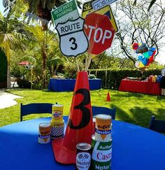Fun centerpiece for a transportation theme birthday