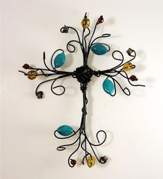 turqouise dream wire cross - maybe make into a tree of life instead?