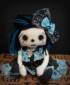 RESERVDED Gothic little Clarice Rag Goth Tattered goth spooky cute emo Halloween collectible skull Handmade by OCRLimitedArts on Etsy https://www.etsy.com/listing/243638523/reservded-gothic-little-clarice-rag-goth