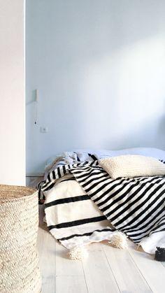 Image of Moroccan POM POM Wool Blanket - Black Stripes - small