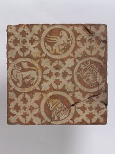 V&A Collection: Tile Place of origin:Chertsey Abbey, England (made) Date:ca. (made) Artist/Maker:Unknown (maker) Materials and Techniques: Earthenware, with inlaid decoration Museum number: Medieval World, Medieval Art, History Medieval, Clay Tiles, Mosaic Tiles, Book Of Kells, Antique Tiles, Encaustic Tile, Terracota