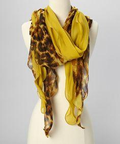 Mustard Yellow & Brown Leopard Sheer Scarf