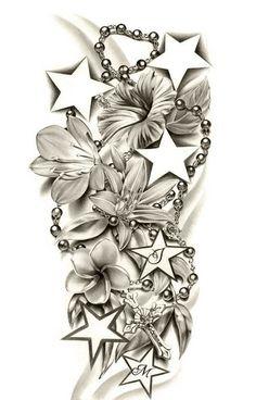 Kwiaty i gwiazdy wzór tatuażu