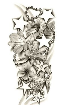 Half Sleeve Tattoo Drawings for women - I'd do hearts instead of stars, with kid. - Half Sleeve Tattoo Drawings for women – I'd do hearts instead of stars, with kids names or init - Half Sleeve Tattoos Drawings, Tattoos For Women Half Sleeve, Full Sleeve Tattoos, Tattoo Sleeve Designs, Star Sleeve Tattoo, Tattoo Sleeves, Woman Sleeve Tattoos, Butterfly Sleeve Tattoo, Skull Sleeve