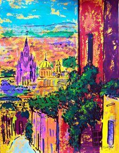Original painting art Mexican town San Miguel de by MyMexicanArt