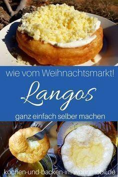 Langos aus Ungarn könnt Ihr einfach selber machen. Die schmecken wie auf dem Weihnachtsmarkt! Mit Schmand, Käse und Koblauch.