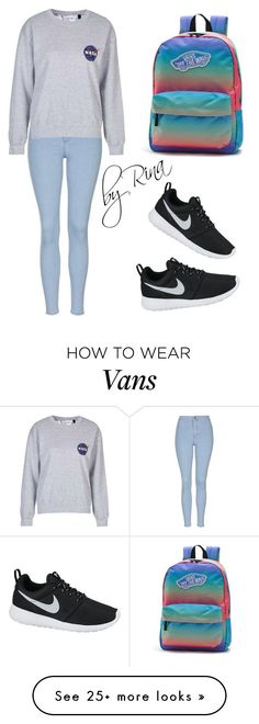"""""""#19"""" by rinamoroz on Polyvore featuring Topshop, NIKE, Vans, women's clothing, women, female, woman, misses and juniors"""