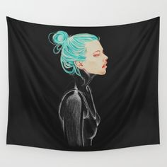 #colored #pencil #female #drawinggirl #ink #illustration #drawing #black #bluehair #face Available in three distinct sizes, our Wall Tapestries are made of 100% lightweight polyester with hand-sewn finished edges. Featuring vivid colors and crisp lines, these highly unique and versatile tapestries are durable enough for both indoor and outdoor use. Machine washable for outdoor enthusiasts, with cold water on gentle cycle using mild detergent - tumble dry with low heat.