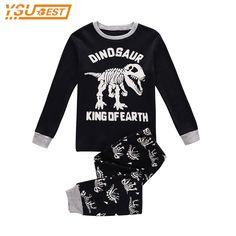 f19c54398 Niños Otoño Pijamas Que Arropan el sistema Niños Bebés Niñas Pijamas 100%  Algodón Dinosaurio Impreso