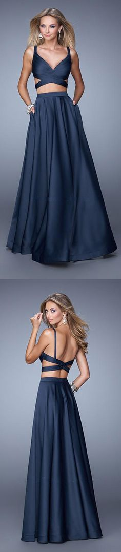 Two Piece Satin Long Navy Prom Dress by La Femme 21178