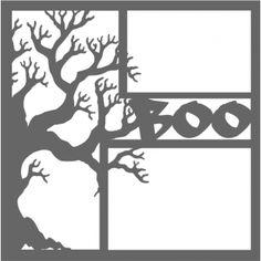 Scary Tree Boo - 12 x 12 Scrapbook Overlay Laser Die Cut