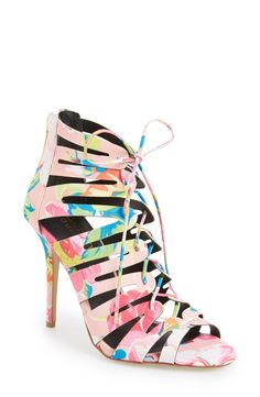 Kendall and Kylie Madden Girl 'Daylittle' Cage Sandal at Nordstrom Caged Shoes, Caged Sandals, Lace Up Sandals, Lace Up Heels, Floral Sandals, Heeled Sandals, Fab Shoes, Me Too Shoes, Shoes Heels