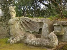 The figure of Melusine, at the 16th century sculpture garden of Bomarzo, Italy.