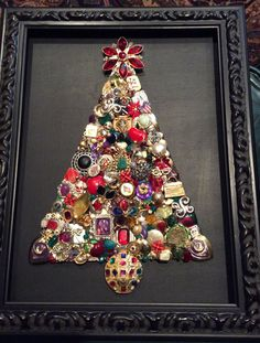 Red, green and purple! Vintage jewelry Christmas tree.