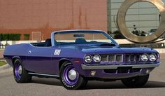 "1971 Hemi 'Cuda Convertible - Only 11 built. This is 1 of 1 sprayed with the factory color ""Plum Crazy"""