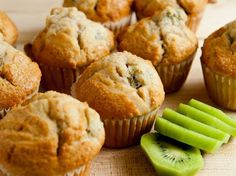 Kiwi Muffins - 4 c of flour! This recipe is huge! It`s definitely for freezing. - i used a mini muffin tin but the chunks of kiwi were too large, and the recipe mentions not making them too small either. Will have to try with regular sized tin. Kiwi Recipes, Baking Recipes, Sweet Recipes, Dessert Recipes, Recipes Using Kiwi Fruit, Juicer Recipes, Tortillas Veganas, Homemade Muffins, Vegetarian