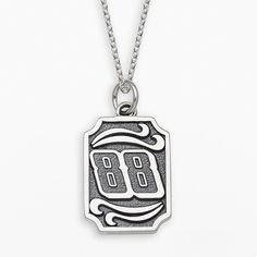 """Insignia Collection Nascar Dale Earnhardt Jr. Sterling Silver 88 Pendant, Adult Unisex, Size: 18"""", Grey"""
