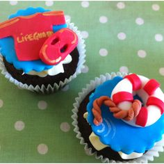 Lifeguard cupcakes @Suzanne Ringbauer I think you should make these for the work party