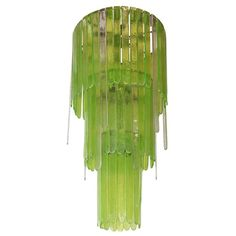 Italian Green and Clear Murano Glass Chandelier by Leucos, 140cm