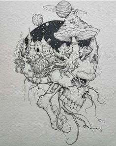 Pin by rock neptune on to do çizimler, çizim fikirleri, sana Trippy Drawings, Dark Art Drawings, Tattoo Design Drawings, Art Drawings Sketches, Cool Drawings, Tattoo Sketches, Tattoo Designs, Unique Drawings, Ink Illustrations