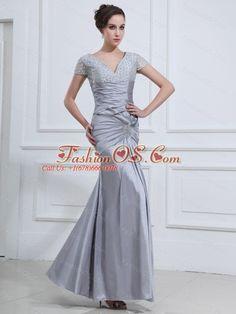 Beading V-neck Mermaid Taffeta Ankle-length Prom Dress Grey- $164.39