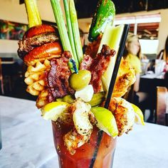"""🔥HANGOVER ANNIHILATOR🔥 . """"Bloody best bloody mary"""" 🍅 . After an intense night of drinking copious amounts of adult beverages people in Dallas/ Fort Worth have an ingenious solution to bust those hangover blues. 😓😓 . Wake up early, meet some friends for """"brunch"""", and slam even more adult beverages!! 😜🤦♂️ . I can think of no better place to go than a """"gas station"""" in Watagua, Texas called @chefpointcafe Yep you heard right a freaking gas station!! 😂😂😂 . So I know what you're…"""