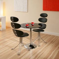 Round Black Glass / Chrome Dining Table + 2 Modern Black Swivel Chairs
