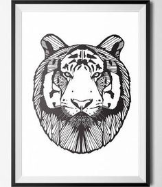 black and white print tiger art