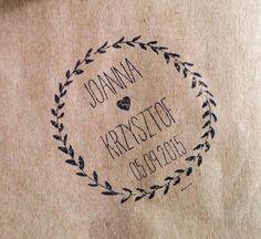 Stempel ślubny personalizowany 60mm koło Ex Libris w Druk Love na DaWanda.com